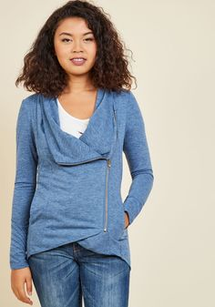 <p>With a long travel day ahead, you dress comfortably in this black cardigan, knowing your friends and fam will wrap their arms around its soft knit oh-so soon! Featuring an asymmetrical front zipper that lies beneath its cowl neck, and a subtle high-low hem, this stylish sweater will be adored by the folks you love most.</p>
