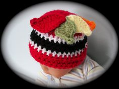Crocheted Chicago Black Hawks Beanie  Custom by dcoycrochetsforyou, $18.00
