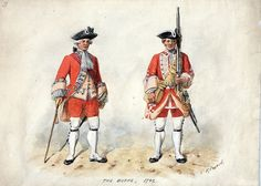 """The Buffs, 1742 """"'The Buffs' because it had been issued with buff coats when it first served abroad in the Low Countries and later when it was a Maritime Regiment of Foot. It was later given buff-coloured facings and waistcoats to distinguish itself from those of other regiments."""""""