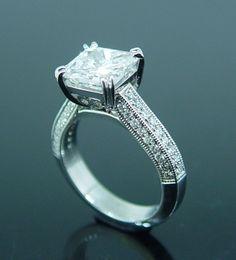 Fabulous Platinum Diamond Engagement Ring, Platinum Set Radiant Cut Diamond by Peter Kumskov My Own Jeweller Direct.