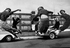 Cheerleaders practice in front of Norview HS closed to block integration, Norfolk, VA, '58