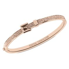 Michael Kors Rose Gold Tone Pavé Buckle Bangle