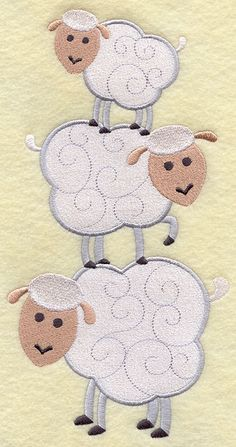 Sheep Stack  Embroidered Linen Kitchen Towel by EmbroideredbySue, $14.99