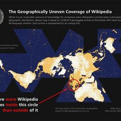 This map points out the highly uneven spatial distribution of (geotagged) Wikipedia articles in 44 language versions of the encyclopedia. ➖ Slightly more than half of the global total of 3,336,473 articles are about places, events and people inside the red circle on the map, occupying only about 2.5% of the world's land area. ➖ The map is based on Wikipedia data dumps encompassing 44 languages from November 2012. We excluded articles with more than four geotags, which typically consist of…