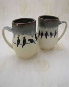 Love Birds Mug Birds on a Wire Muddy Paws by MuddyPawsPotteryAZ, $32.00