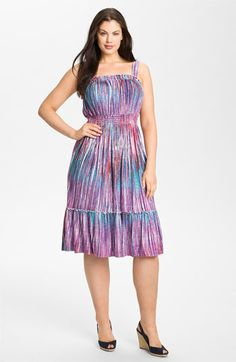 I kinda want to get this dress... Sejour Smocked Sundress (Plus) available at Nordstrom