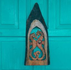 SEAHORSE Wall Sculpture Hand Carved in Mahogany by SusanaCaban