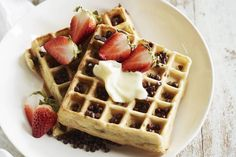 Chocolate Chip Almond Waffles - What's Gaby Cooking