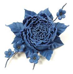 Купить Танец Роз. Синий. Брошь из натуральной кожи в интернет магазине на Ярмарке Мастеров