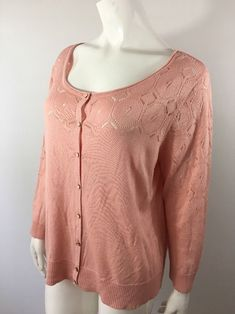 b3cda03a CATO Cardigan XL Pink Rose Thin Knit Button Down Rayon Long Sleeve Sweater # Cato #Cardigan #Work