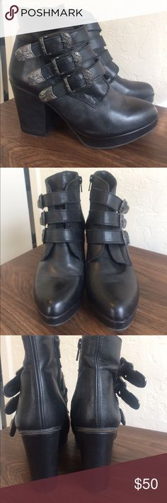 platform booties! make offer! closet clearout! Awesome and super comfortable. Bought at a boutique in the bay area and don't know the brand. Real leather, metal buckles, platform and chunky heel. selling to make room in my closet! nb Shoes Ankle Boots & Booties