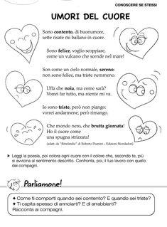 Italian Language, Feelings And Emotions, Reading Material, Emoticon, Kids Education, Primary School, Nursery Rhymes, Life Skills, Art Lessons