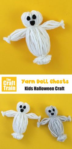 Cute yarn doll ghosts to make for Halloween. Such a fun and easy ghost craft idea! This is just like traditional yarn dolls only we've made them into ghosts – BOO! Perfect kids activity for Halloween crafting Easy Yarn Crafts, Yarn Crafts For Kids, Toddler Crafts, Halloween Activities For Toddlers, Toddler Halloween, Ghost Crafts, Halloween Arts And Crafts, Yarn Dolls, Ghosts