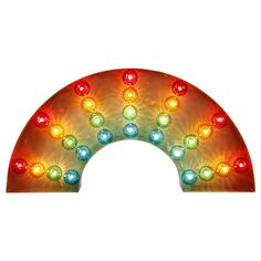 This rainbow floor light will add a burst of colour to the home. Perfect for bringing a fairground-inspired feel to a room, this bold statement piece features multi-coloured bulb covers and can be placed on either the wall, table or floor to bring a touch of retro charm to any interior space.
