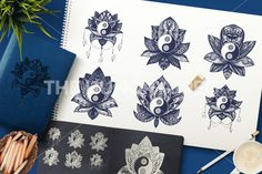 Vintage Yin and Yang in Mandala Lotus. Tao symbol for print, tattoo, coloring book,fabric, t-shirt, yoga, henna, cloth in boho style. Mehndi, occult and tribal, esoteric and alchemy sign. Vector