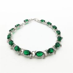 Silky Green White Sterling Silver Overlay Link Chain Bracelet 7.5 inch Free Shipping