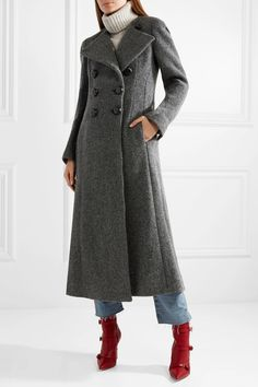 long wool coat grey/straight leg jeans salsa high waisted/red boots buckles/ grey striped polo neck