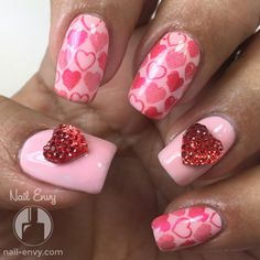Inspiration on Pink Heart Nail Art! by Nail Envy. Check out more Nails on Bellashoot. Nail Art Diy, Diy Nails, Glitter Nails, Heart Nail Art, Heart Nails, Pink Manicure, Nail Pink, Nail Nail, Clear Acrylic Nails