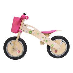 Mooie loopfiets met bloemetjes. Ht zadel is in hoogte verstelbaar. Geschikt voor kindjes vanaf 3 jaar. Te vinden bij Sassefras Meisjes Speelgoed voor écht peuter en kleuter speelgoed.
