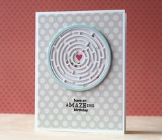 """I layered several die cut mazes to get some thickness and then adhered clear cardstock over the top to hold in the little sprinkles. Why, yes, I did use my cupcake sprinkles in the shaker maze"""