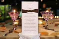 A custom designed menu for the rehearsal dinner. Easy to read with a lot of text, an elegant touch to the table decor.Wedding Menus & Programs designed for you. Call 512.323.0600. Follow us on www.facebook.com/favorsyoukeep #uniqueweddingmenus #rehearsaldinnermenus #localaustinstationery