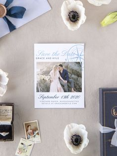 Nautical Compass Photo Wedding Save the Date Cards Luxury Wedding Invitations, Elegant Invitations, Wedding Stationary, Save The Date Magnets, Save The Date Cards, Engagement Ideas, Wedding Engagement, Free Wedding, Wedding Ideas
