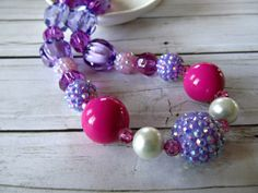 Purple and magenta chunky little girls necklace, Easter accessory, bubblegum necklace