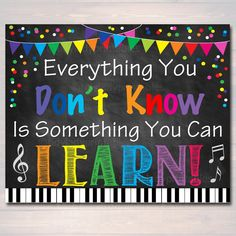 Everything You Don't Know You Can Learn Poster - Positive Thinking Growth Mindset Teacher Classroom Power of Yet Art Music Classroom Posters, Classroom Quotes, Classroom Themes, Teacher Quotes, Classroom Signs, Math Teacher, Math Classroom, Teacher Stuff, Growth Mindset Classroom