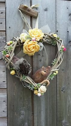 Wicker Heart Wreath Summer Wreath Mouse and by PuppyduckMakes House Decorations, Christmas Decorations, Jewelry Art, Jewellery, Wicker Hearts, Foam Roses, British Wildlife, Heart Wreath, Summer Wreath
