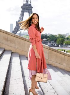 Sydne Style wears valentino rock stud bag in paris france for eiffel tower photos Paris Outfits, Studded Bag, Haute Couture Fashion, Spring Summer Fashion, Trench, Going Out, Wrap Dress, Fashion Show, One Piece