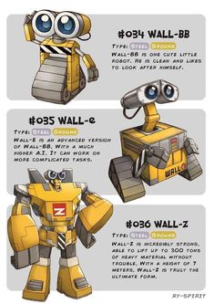 Continuing my Disney Evolution series, this time featuring WALL-E! One of the most depressing and dark Disney movie I have ever seen. WALL-BB - WALL-E - WALL-Z Disney Pixar, Walt Disney, Disney And Dreamworks, Disney Animation, Disney Love, Disney Magic, Disney Art, Disney Characters, Disney Ideas