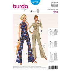 Buy Burda Vintage Women's Top and Trousers Sewing Pattern, 6891 Online at johnlewis.com