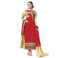 Buy Lilots Red Jacquard Dress Material by Lilots, on Paytm, Price: Rs.2900?utm_medium=pintrest