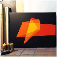 """'Shock', 40x30"""" aerosol on canvas."""