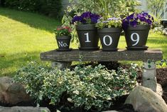 House Numbers reinvented  Actually... front yard... but I still can do this... First thing that needs to happen is that half dead tree needs to come down... carve out the stump... plant the flowers in the stump... stone bench behind with these little prettys attached to it... HHHMMMM Ideas
