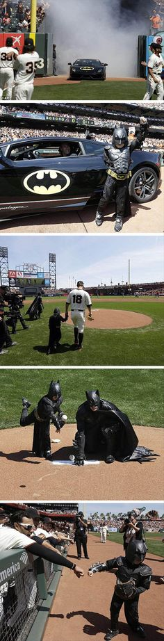 Batkid throws out the first pitch for the SF Giants home opener