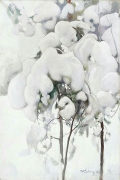 Snow-Covered Pine Seedlings, 1899 by Pekka Halonen (Finnish, Landscape Art, Landscape Paintings, Winter Trees, Winter Art, Helene Schjerfbeck, Nostalgic Pictures, Old Paintings, Romanticism Paintings, Winter
