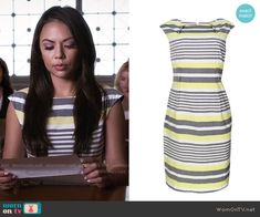Mona's grey and yellow striped dress on Pretty Little Liars.  Outfit Details: https://wornontv.net/55366/ #PLL