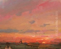 """New Blog Post: http://rosepleinair.com/red-sky-sunrise/ Landscape""""Red Sky Sunrise"""" In these following landscapes you'll see that I love the red time best now. To paint it you'll have to really start before it happens. What a joy to paint these mornings. What greatstart of the day.  LSP02-2015 LandscapeSpring""""Red Sky S... View More at: http://rosepleinair.com #Hollandopznmooist, #Landscape, #Morning, #Painting, #PleinairPainting, #Pleinair"""