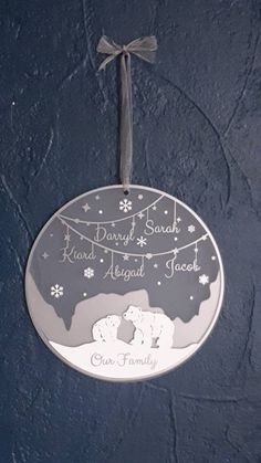 Items similar to Personalised Polar bear family Christmas decoration, family Christmas decoration large, Christmas wall decoration on Etsy Christmas Gift Decorations, Christmas Goodies, Christmas Crafts, Christmas Ornaments, Magical Christmas, Family Christmas, Baby Milestone Cards, 1st Anniversary Gifts, Cricut Craft Room
