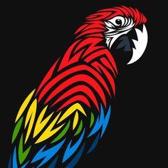 'Tribal Macaw' Long T-Shirt by albertocubatas Pop Art Drawing, Art Drawings Sketches, Animal Drawings, Animal Stencil, Stencil Art, Tribal Animals, Silhouette Art, Tribal Art, Mandala Art