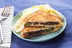 Grilled Fontina & Fig Jam Sandwiches with Endive, Basil & Almond Salad. Visit https://www.blueapron.com/ to receive the ingredients.