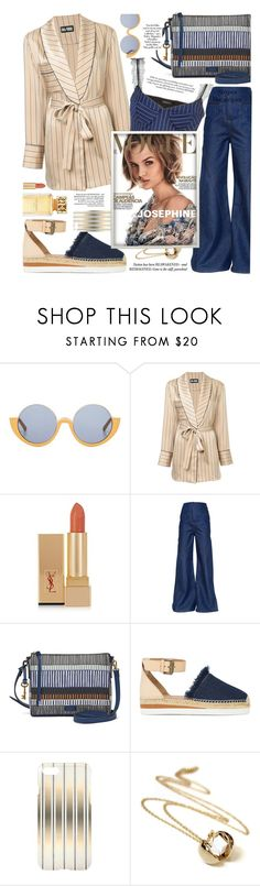 """Gentle colors and stripes,for all fashion types!"" by jelena-bozovic-1 ❤ liked on Polyvore featuring Marni, Dalood, Yves Saint Laurent, Esteban Cortazar, FOSSIL, See by Chloé, Tory Burch, stripesonstripes and PatternChallenge"