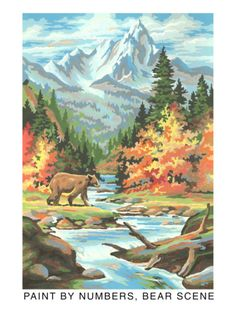 Paint by Numbers, Bear Scene Premium Poster