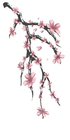 Sakura Tattoo Design For Aokaji By Memeshii Horizon Deviantart On Anesecherry Blossomscherry