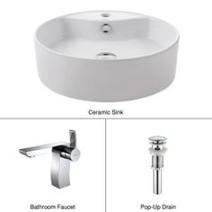 Vessel Sink in White with SonusVessel Sink Faucet in Chrome-C-KCV-142-14601CH at The Home Depot