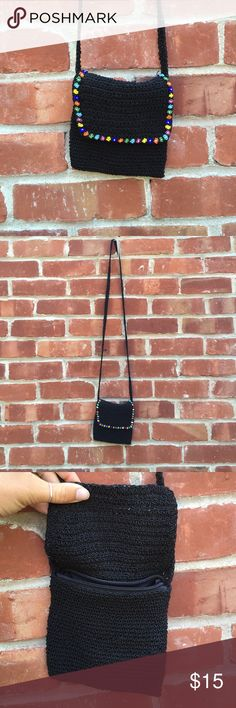 90's Shoulder Bag Black woven bag with floral beaded embroidery. Zip closure. Small enough to fit an iPhone 6 (depending on the case) and some cards / makeup Bags Shoulder Bags