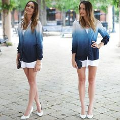 Madeline Becker - Material Addict Ombre Button Up, Homemade White Dress, Target Navy Wallet - NAVY OMBRE