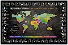 A #map of the #ethnic regions which define world #culture. This infographic includes language families, a lists of ethnic people and images of mythical characters.
