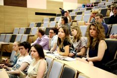 "Here is a conference/lecture hall of FGBU ""FNKTS DGOI n.a. Dmitry Rogachev"" . Students from different university in Russia and young scientist on a lecture of professor  Vladimir Mironov."
